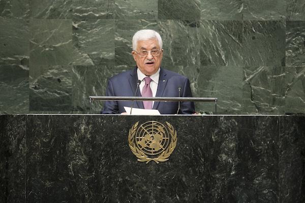 El presidente palestino Mahmoud Abbas se dirige a la Asamblea General durante el debate general, 26 de septiembre de 2014 (UN Photo / Amanda Voisard)
